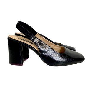 Zara Chunky Heel Slingback Black Crinkle Leather
